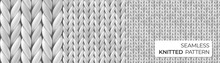 Gray Realistic Merino Wool Fabric. Seamless Knitted Detailed Pattern. Vector Illustration With Closeup Texture For Wallpaper, Background, Web Page Backdrop, Wrapping Paper, Winter Design, Postcard.