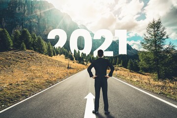 Panel Szklany Berlin The 2021 New Year journey and future vision concept . Businessman traveling on highway road leading forward to happy new year celebration in beginning of 2021 for fresh and successful start .
