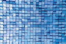 Square Blue Sequined Fabric Te...