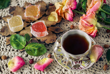 Delicious ,colourful Retro Dessert Of Marmalade And A Cup Of Rose Hip Tea