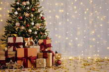 Beautiful Decorated Christmas Tree And Gift Boxes With Copy Space