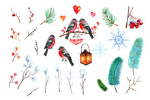 Winter Clipart With Bullfinches And Branches Of Cedar And Spruce Trees, A Glowing Hanging Lantern, Hearts And Snowflakes. You Two Lovebirds. Watercolor Illustration