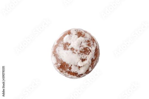 Fototapeta Traditional round gingerbread isolated on white. Closeup  obraz na płótnie