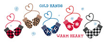 Heart Mittens Collection. (Buffalo Plaid, Leopard, Checkered Pattern, Snowflake, Deer). Love And St. Valentine Day Concept. Vector Clipart.