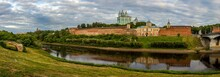 The View On Smolensk, The Cathedral Of Assumption, The Dnieper River And The Embankment In Summer In Russia.