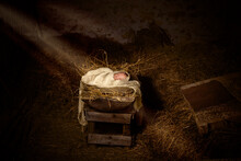 Jesus Doll In The Manger With Christmas