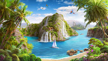 Tropical Island, Lagoon With W...