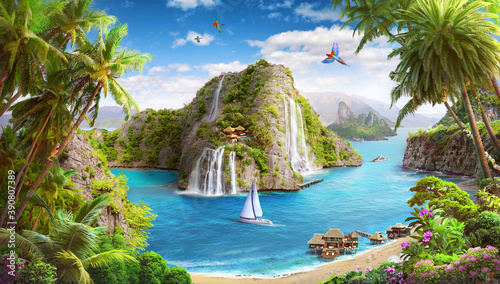 tropical island, lagoon with waterfalls, wallpaper digital murals, beach and yac Fotobehang