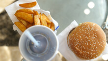 Fast Food Menu With Burger,sauce, Fries And Cola