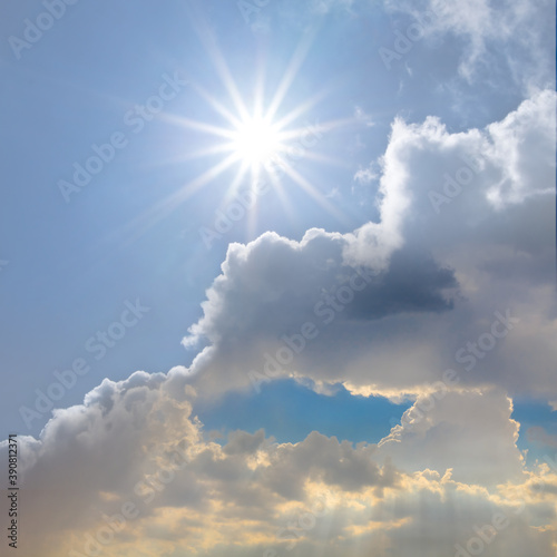 Obraz blue sky with cumulus clouds and sparkle sun, natural background - fototapety do salonu