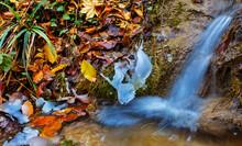 Closeup Water Cascade Fall Ove...
