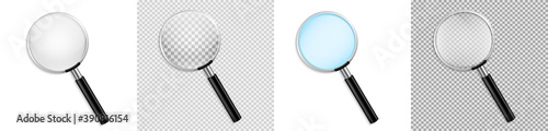 Realistic Magnifying glass vector isolated vector illustration on transparent ba Fototapeta