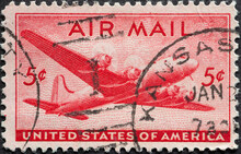 USA - Circa 1946 : A Postage Stamp Printed In The US Showing The DC-4 Skymaster On The Airmail Postal Stamp Large