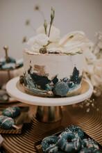 White Blue Luxury Cake