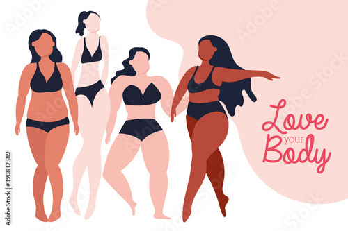 love your body lettering with group of girls perfectly imperfect Fotobehang