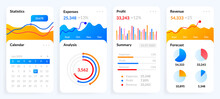 Mobile Charts UI. Phone Screen With Dashboard Analytics, Modern Diagrams And Bars With Stock Statistics And Forecasts. Financial Statement Schemas For Presentation, Vector Smartphone Report Templates