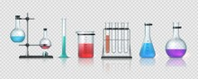 Laboratory Equipment. 3D Realistic Chemistry Lab Measuring Glassware. Collection Of Test Tubes And Flasks With Colorful Liquid. Metal Holders And Bottles On Transparent Background, Vector Science Set