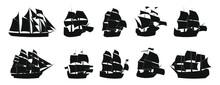 Black And White Vector  Sailing Ship