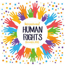 Human Rights Campaign Lettering With Hands Print Colors Around And Dotted