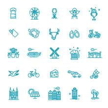 Vector Holland Flat Icons Set. Vector Illustration