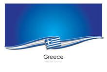 Greece Flag With Colored Hand Drawn Lines In Vector Format
