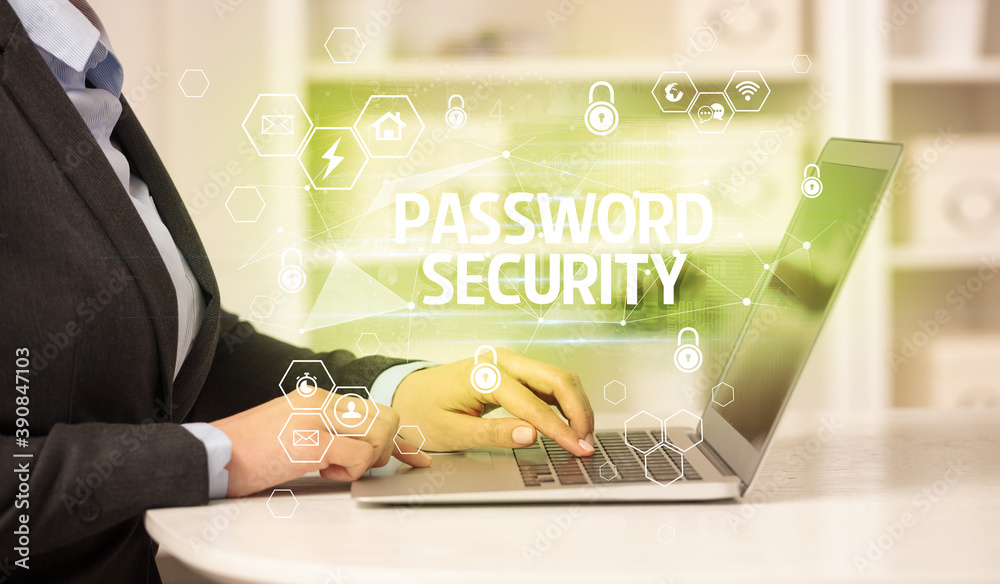 Fototapeta PASSWORD SECURITY inscription on laptop, internet security and data protection concept, blockchain and cybersecurity