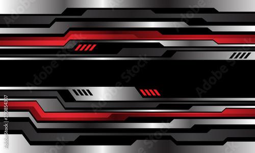 Fototapeta Abstract silver red metallic cyber pattern on black design modern technology futuristic background vector illustration. obraz