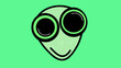 canvas print picture - Green alien with big eyes on green background