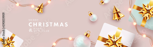 Obraz Christmas banner. Xmas background design with realistic gift boxes, golden conical Christmas trees, bauble balls, garland lights. Horizontal christmas poster, greeting card, header for website - fototapety do salonu