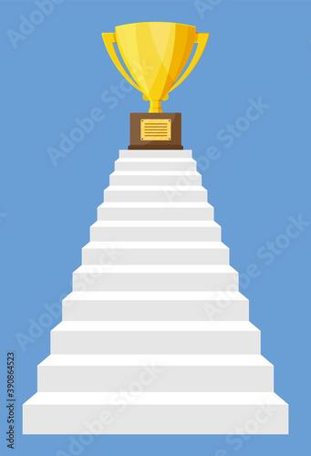 Fotografía Golden trophy on ladder of success