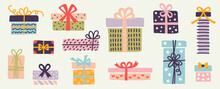 Set Of Doodle Gift Boxes, Colorful Silhouettes With Bow And Ribbons Isolated On White Background. Wrapping Paper Patterns, Kids Drawing Sketch Style