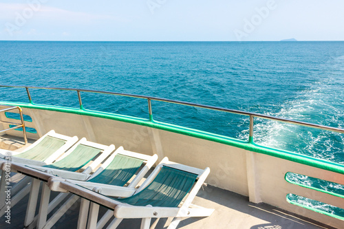 Empty deck chairs on the upper deck of a cruise ship Canvas Print