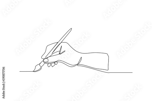 Fototapeta continuous line drawing hand holding painting brush. One line concept of creative artist work. Vector illustration obraz
