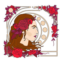 Girl With Roses. Art Nouveau Styled Girl With Flowers In Ornamental Frame. Portrait Of A Girl With Long Hair In Floral Frame In Old, Retro, Art. Beautiful Female Face In Vintage Style - Vector