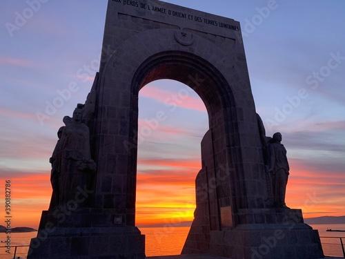 Canvastavla arc de triomphe at sunset