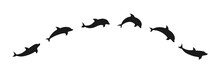 Dolphins Line Shape Silhouette Icon. Animals Set Vector Illustration Isolated On White.