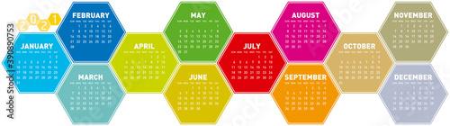 Colorful Calendar design for year 2021 in an hexagonal pattern Wallpaper Mural