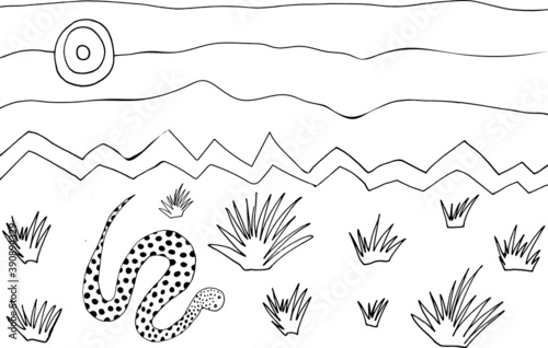 Fototapeta Cute coloring page with bitis snake in desert