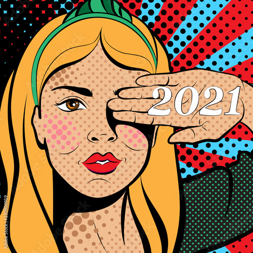 Sexy pop art woman with hand on face. Background in comic style retro pop art. Invitation to a party. Face close-up. Happy New Year 2021. © Molgaart