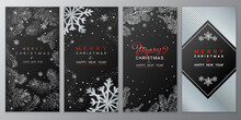 Christmas Poster Set On Black. Vector Illustration Of Christmas Background With Branches Of Christmas Tree.