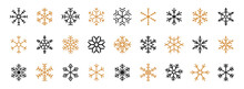 Set Of Black And Gold Snowflakes. Black Snowflake Vector Icon. Snowflakes Vector Template. Winter Snowflake Icons. Winter Flat Vector Decorations Elements