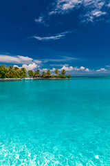 White sandy beach in Maldives with amazing blue lagoon