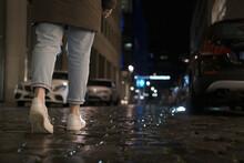 Closeup Of Walking Female Legs...