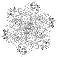 Sea Mandala With Fish Jellyfish And Waves, Coloring In Mandala, Circular Illustration Of Snowflakes From Sea Ornaments, Hand Drawing Isolated On A White Background