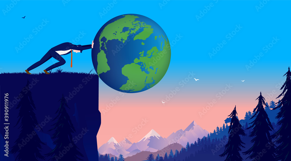 Fototapeta Businessman pushing the world of cliff - Man outdoors setting the world in danger. Not caring about global impact concept. Vector illustration.