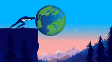 Businessman Pushing The World Of Cliff - Man Outdoors Setting The World In Danger. Not Caring About Global Impact Concept. Vector Illustration.