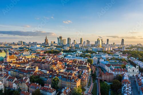 Obraz Warsaw city center aerial view - fototapety do salonu