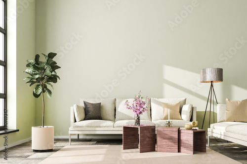 Interior scene: living room with a sofa in a loft building Canvas