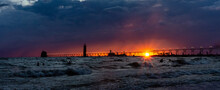 The Sun Sets Below Storm Cloud...