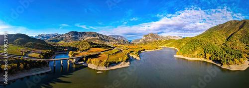 Aerial view of Presa de Oliana dam on El Serge river in Spain #390925931